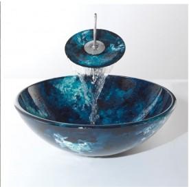 szklana umywalka niebieska